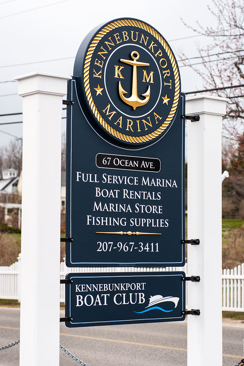 Kennebunkport Marina Sign, Carved with 23k gold leaf letters
