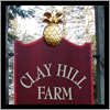 The Clay Hill Farm sign in Cape Neddick, Maine has a hand carved pineapple and flat lower portion.