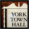 We created this sign with period mahogany spindles, urn and trim for the York Town Hall.