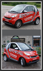 We designed and applied the graphics to an AutoWorks of Kittery, Maine loaner car