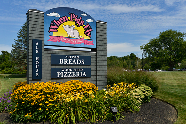 Sign created for When Pigs Fly Bread and Pizzeria in Kittery, Maine